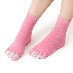 FiveToe Design Cotton Non Slip Massage Toe Socks Full Grip With Socks Heel #0409