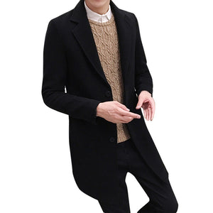 Coat Men Formal Single Breasted Figuring Overcoat Long Wool Jacket Outwear Warm Windbreaker Male Coat #0726