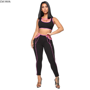 2019 Women Stripes Splicing Tank Top Skinny Long Pants Suit Two Piece Set Fashion Sportwear Tracksuit Outfit 3 Color GLH3280