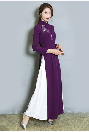 Autumn Fashion Style Polyester Women Plus Size Ao Dai Asia Pacific Islands Clothing M2Xl