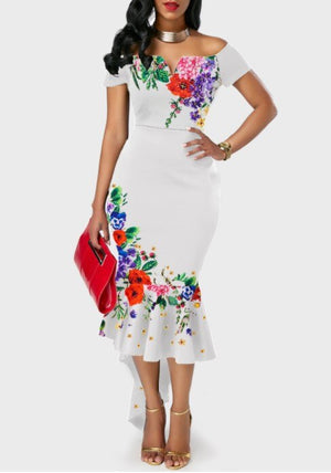 Fashion Style Summer Regular Printing Women Plus Size Dress SXxl