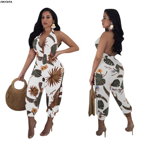2019 Floral Leaf Print Halter V-neck Open Back Lantern Ankle Length Women Jumpsuit Beach Sexy Party Romper Playsuit T3266H