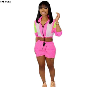 2019 Summer Women Pink Safari Zipper Up Fashion Trench Shorts Suit 2pcs Sporting Set Women's Tracksuit Outfit Y5105