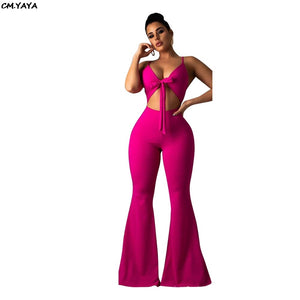 2019 Summer Women Sexy Spaghetti Strap Tie Up Cut Out Sleeveless Wide Leg Jumpsuit Club Night Romper Playsuit 2 Color LD8275