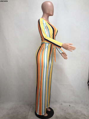 2019 Women Multi Color Stripes V-neck High Waist Sashes Long Sleeve Jumpsuit Straight Romper Beach Night Club Playsuit R6154