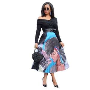 Women Printing Vintage Cartoon High Waist MidCalf Length Pleated Skirts Active Wear Casual Skirt 3 Color