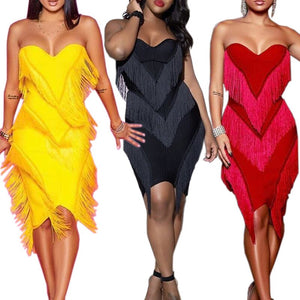 Women Strapless Plunging Tassel Splicing KneeLength Party Dress Midi Club Night Bodycon Dresses 3 Colors Cy808