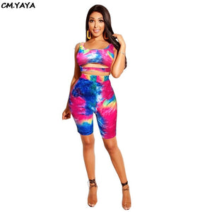 2019 Women Summer Black Hole Tie Dye Print Lace Up Hem Tank Top Knee Length Pants Suit Two Piece Set Tracksuit GLQZX6052
