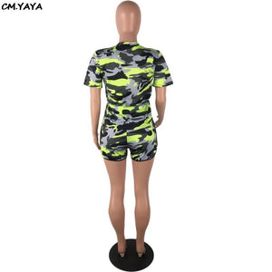 2019 Women Summer Camouflage Print O-neck Short Sleeve Tee Top Shorts Suit Two Piece Set Sporty Tracksuit Outfit H1129