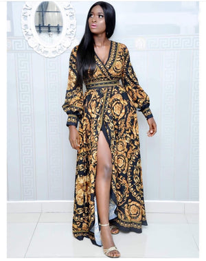 Spring Summer Leisure V Collar Cardigan Digital Printing Big Name Belt Slit Dress