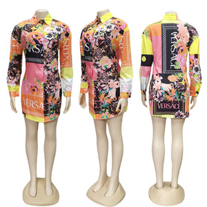 Summer Style Fashionable Digital Print Shirt Collar Long Sleeve Casual Dress