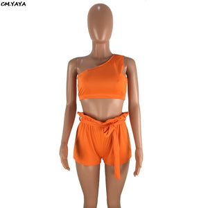 2019 Summer Women One Shoulder Sleeveless Crop Top Shorts With Waist Suit 2pcs Set Sexy Beach Tracksuit Outfit 2color DN8195