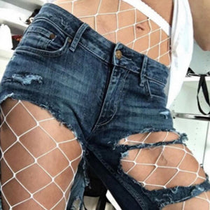 Summer Women'S OnePiece Stockings Grid Stockings Post Shipping Vintage Hole Jeans Wild Fashion Trend Wild