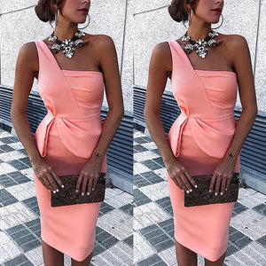 Temperament Lady One Shoulder Temperament Commuter Party Dress Solid Color One Shoulder Pleat Pack Hip Dress Summer