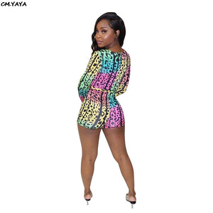 2019 Women Bohemian Beach Sexy Deep V-neck Leopard Print Playsuit With Sashes Long Sleeve Short Jumpsuit Romper TS921