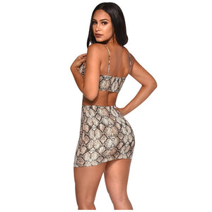 2019 Women Sexy Bodycon Tracksuit Summer Strapless+Skirts Two Pieces Sets Sportswear Strap Print Casual Fashion Bandage M902