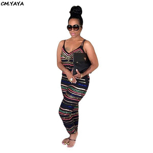 2019 Women Summer Chain Stripe Print Spaghetti Strap V-neck Sleevelss Pencil Long Jumpsuit Fahsion Vintage Romper Playsuit M5080