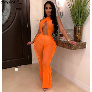 2019 Women Summer Ruffles Splicing Wide Leg Halter Neck Open Back Sexy See Though Jumpsuit Night Club Romper Playsuit GLLD8372