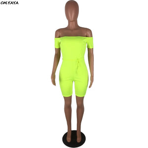 2019 Women Summer Solid Off Shoulder Short Sleeve Skinny Bodycon Knee Length Jumpsuit Casual Fashion Playsuit Romper GLLBXZ6142