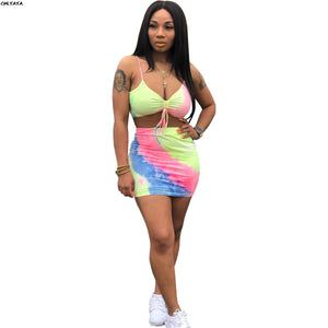 2019 Women Summer Tie Dye Print Tie Up Short Tank Top Midi Mini Skirt Suit Two Piece Set Bodycon Beach Dress Tracksuit WY6574
