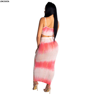 2019 Women Tie Dyed Print Spaghetti Strap Short Tank Top Maxi Midi Skirts Suit 2pcs Set Bodycon Dress Tracksuit Outfit CY1134