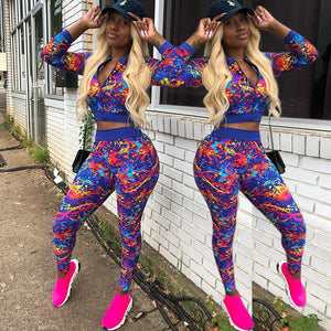2020 Autumn Plus Size Women Tracksuit Printed Two Piece Set Top Pants Jogging Sweat Suits Streetwear Casual 2 Piece Outfits