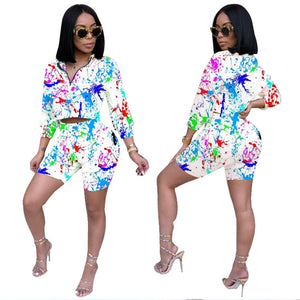 2020 Autumn Two Piece Set Summer Tracksuit Women Crop Top Shorts Set Casual Sportwear 2 Piece Outfits Sweat Suits