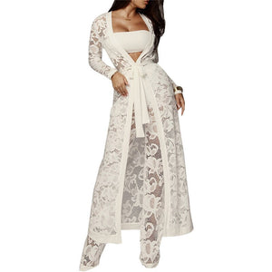 2020 Autumn Winter Outfits Lace 3 Piece Set Women Long Cardigan + Crop Top + White Lace Pants Set Three Piece Outfits Women Set
