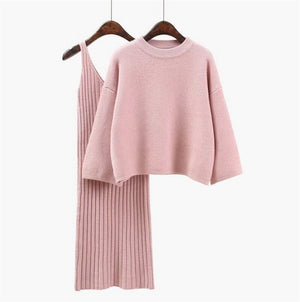 2020 Autumn Womans Sweater + Straped Dress Sets Solid Color Casual Two-Pieces Suits Loose Sweater Knit Mini Dress Winter