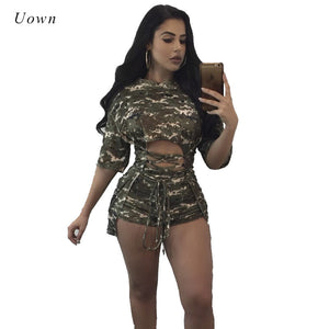2020 Fall Camouflage Women Suit Two Piece Sets Lace Up Bandage Top Short Set Fashion Sweat Suits 2 Piece Set Women Tracksuit