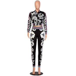 2020 Fashion Sweat Suits Long Sleeve Two Piece Set Floral Print Jacket + Ladies Jogger Pants Set Pink Women Tracksuits