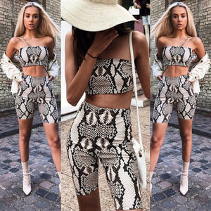 2020 Fashion Women Summer Sexy Snake Skin Steiped 2Piece Set Crop Top Shorts Bodycon Outfit Short Sport Jumpsuit