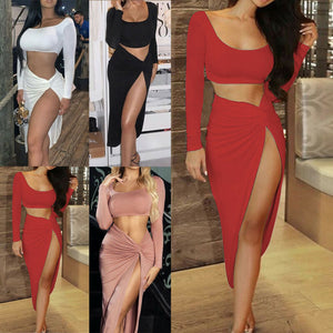 2020 Women Summer Sexy Two Piece Set Long Sleeve Crop Top Bodycon Long Split Bandage Wrap Skirt Ladies Sexy Clubwear