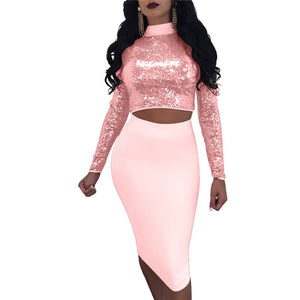 2020 Pink Mesh 2 Piece Set Women Sexy Two Piece Set Autumn Sequins Crop Top Skirt Set Matching Sets Woman Two Pieces Outfits