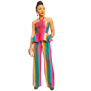 2020 Sexy 2 Piece Set Women Clothes Summer Festival Two Piece Jumpsuit Set Crop Top Pants Offce Ladies Suits Party Club Oufits