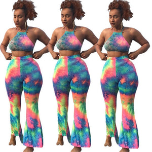 2020 Sexy Beach Two Piece Set Women 2 Piece Summer Sets Tracksuit Tie Dye Crop Top Flare Pants Set Club Women Festival Clothing