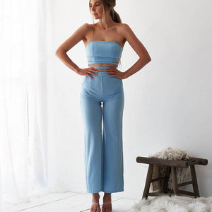 2020 Spring Solid Women Suits Wrapped Chest Hollow Out Top Long Wide Leg Sexy Pant Two Piece Woman Streetwear Three Color Outfit