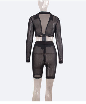 2020 Spring Women Sets V-Neck Crop Tops+Shorts Suits Mesh Perspective Two Piece Set Night Club Tracksuits Sexy Outfit GL8004