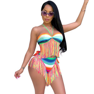 2020 Summer Beach Outfits Sexy 2 Piece Set Women Halter Tassel Hem Crop Tops Bikini Shorts Set Boho Beachwear Two Piece Set