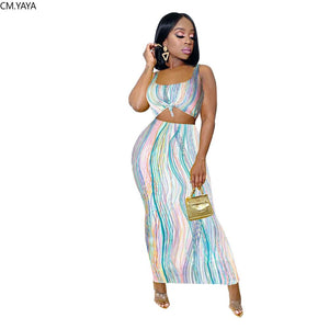 2020 Summer Women Sets Dresses Striped Print Tops+Skirts Suits Sexy Two Piece Set Night Club Party Tracksuits Beach Street GL621