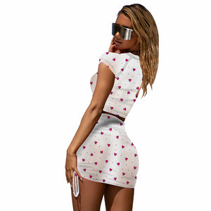2020 Summer Women Sets Print Dress Mesh Tops+Skirts Suits Sexy Two Piece Set Night Club Party Tracksuits Beach GL9369