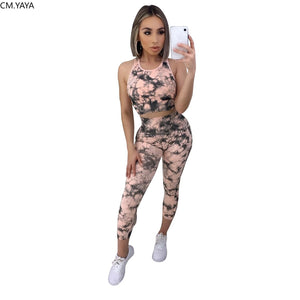 2020 Tie Dye Sporty Women Two Pieces Sets Summer Tracksuits Hater Neck Tank Tee +Jogger Sweatpants Leggings Suit Fitness Outfit