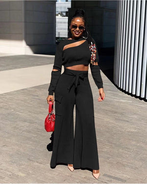 2020 Winter Women Sets O-Neck Full Sleeve Crop Top Pants Suits Two Piece Set Casual Tracksuits Fashion Night Club Outfits GL679