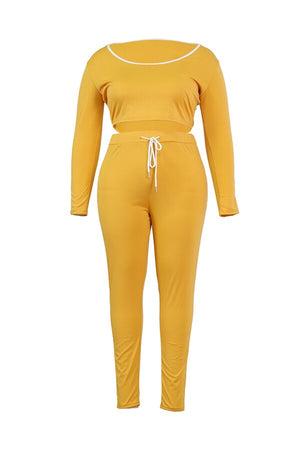 2020 Winter Women Sets O-Neck Full Sleeve Top Pants Suits Solid Color Two Piece Set Casual Tracksuits Fitness Outfits GL5085