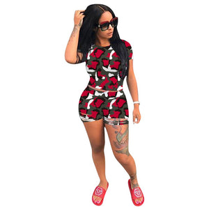 2020 Women Sets Summer Tracksuits Fitness Camouflage Print Tops+Shorts Suit Two Piece Set 2 Pcs Night Beach Outfits GL1325
