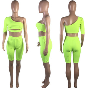 2020 Women Sets Summer Tracksuits Fitness Hollow Out Slim Tops+Shorts Suit Two Piece Set Sporty Street 2 Pcs Outfits GL9079