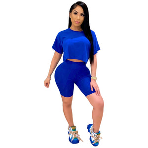 2020 Women Sets Summer Tracksuits Fitness Loose O-Neck Crop Tops+Shorts Suit Two Piece Set 2 Pcs Night Club Party Outfits GL0094