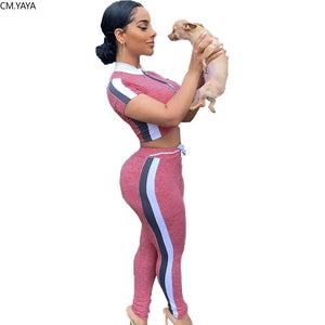 2020 Women Sets Summer Tracksuits Fitness O-Neck Crop Tops+Pants Suit Two Piece Set Night Club Party Outfits 2 Pcs Street GL5311