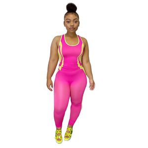 2020 Women Sets Summer Tracksuits Fitness Striped Sleeveless Tops+Pants Suit Two Piece Set Night Club Outfits 2 Pcs Street GL149