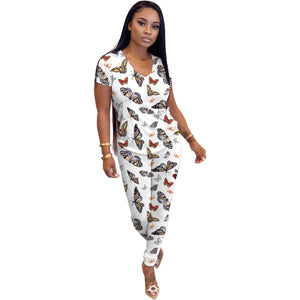 2020 Women Sets Summer Tracksuits Leopard Print Fitness V-Neck Tops+Pants Suit Two Piece Set Sporty Outfits 2 Pcs Street GL6660